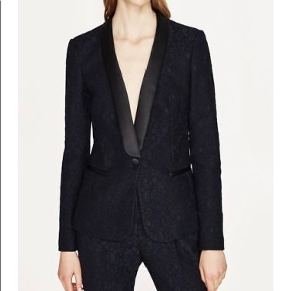 b21ed749987 Zara Jackets & Coats | Nwt Navy Blue Lace Black Trim Tuxedo Jacket ...